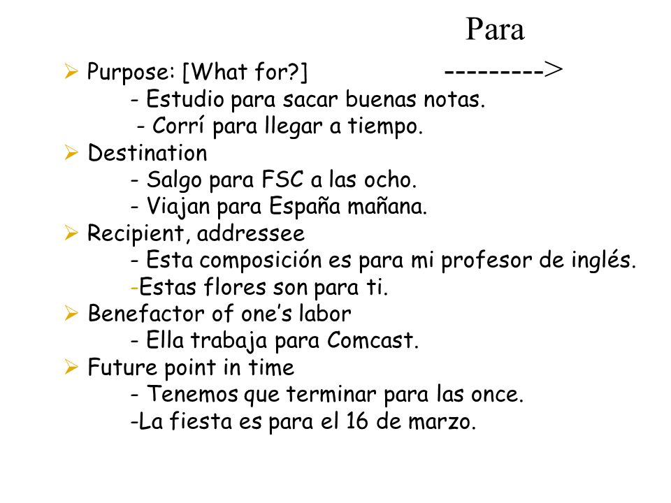 Para ---------> Purpose: [What for ]
